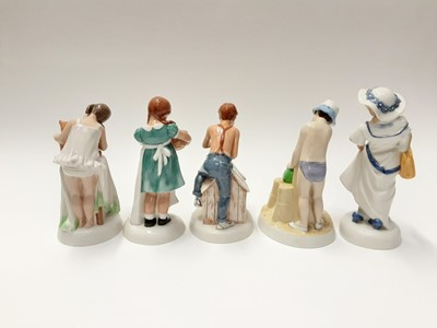 Lot 64 - Five Royal Doulton Childhood Days figures - And One For You HN2970, Just One More HN2980, As Good As New HN2971, Dressing Up HN2964 and Save Some For Me HN2959