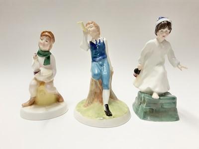 Lot 65 - Seven Royal Doulton Nursery Rhymes Collection figures - Little Boy Blue HN3035, Polly, Put The Kettle On HN3021, Little Bo-Peep HN3030, Tom, Tom, The Piper's Son HN3032, Little Jack Horner HN3034,...