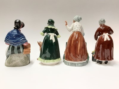 Lot 71 - Four Royal Doulton figures - Thank You HN2732, Flora HN2349, New Companions HN2770 and Old Mother Hubbard HN2314