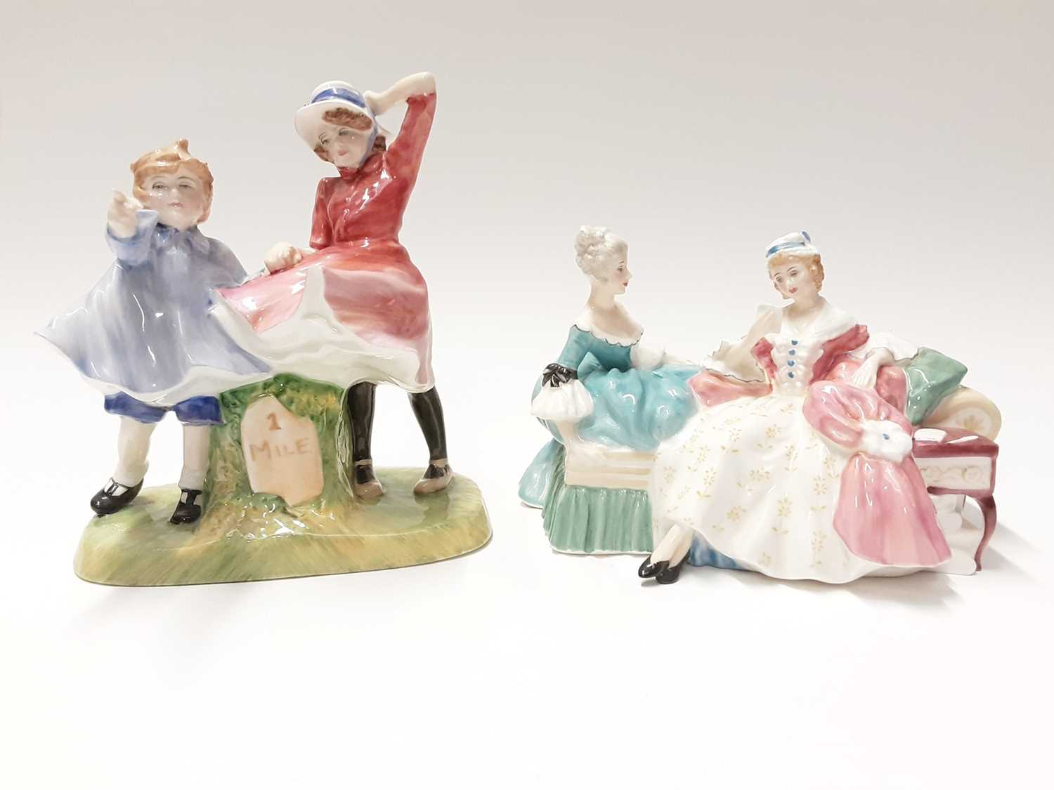 Lot 73 - Two Royal Doulton figure groups - The Love Letter HN2149 and Milestone HN3297