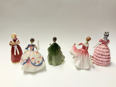 Lot 77 - Five Royal Doulton figures - Christine HN2792, Old Country Roses HN3692, Premiere HN2343, Diane HN3604 and My Best Friend HN3011