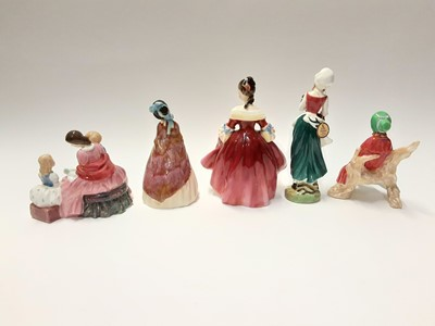 Lot 80 - Five Royal Doulton figures - The Bedtime Story HN2059, Southern Belle HN2229, Lizzie HN2749, Sally HN2741 and Paisley Shawl HN1988