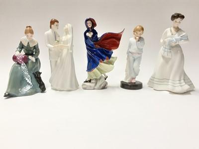 Lot 81 - Five Royal Doulton figures - May HN2746, Dorothy HN3098, Christening Day HN3210, Sleepy Darling HN2953 and Wedding Vows HN2750
