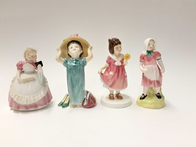 Lot 83 - Seven Royal Doulton figures - Jack HN2060, Jill HN2061, Pride And Joy HN4102, Make Believe HN2225, Off To School HN3768, Cookie HN2218 and Special Treat HN3663