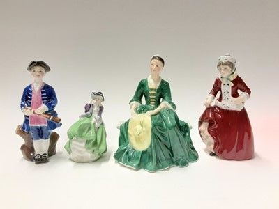 Lot 84 - Seven Royal Doulton figures - A Lady from Williamsburg HN2228, Boy from Williamsburg HN2183, Best Wishes HN3426, Storytime HN3695, Harmony HN4096, First Performance HN3605 and Top O' The Hill HN212...