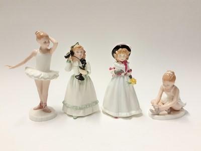 Lot 85 - Eight Royal Doulton figures - What's The Matter HN3684, Ballet Shoes HN3434, Little Ballerina HN3395, Hello Daddy HN3651, Andrea HN3058, Sharon HN3047, Faithful Friend HN3696 and Hometime HN3685