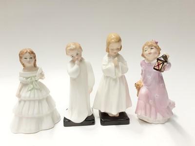 Lot 87 - Eight Royal Doulton figures - Time For Bed HN3762, Mother's Helper HN3650, My Pet HN2238, Julie HN2995, Bedtime HN1978, Darling HN1985, Kitty HN3876 and First Recital HN3652