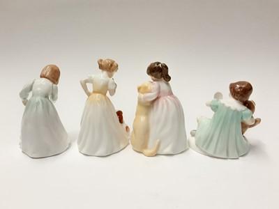 Lot 88 - Eight Royal Doulton figures - River Boy HN2128, My Teddy HN2177, Sleepyhead HN3761, Daddy's Girl HN3435, Buddies HN3396, Let's Play HN3397, Sit HN3123 and Innocence H 3730