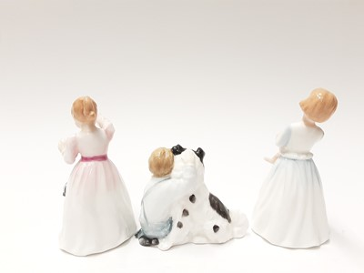 Lot 89 - Seven Royal Doulton figures - Affection HN2236, Sugar And Spice HN4103, A Posy For You HN3906, Reward HN3391, Best Friends HN3935, My First Pet HN3122 and Home Again HN2167