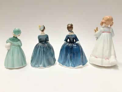 Lot 90 - Seven Royal Doulton figures - Bunny's Bedtime HN3370, Debbie HN2385, Joy HN3875, Stayed at Home HN2207, Cherie HN2341, Mother's Help HN2151 and Amanda HN3635