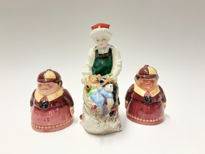 Lot 91 - Five Royal Doulton figures - Santa's Helper HN3301, First Steps HN3361, What Fun HN3364, Peek-A-Boo HN3363 and Well Done HN3362, plus Royal Doulton Tweedle Dee and Tweedle Dum salt and pepper pots...