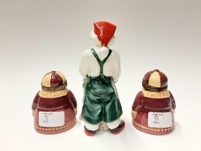 Lot 91 - Five Royal Doulton figures - Santa's Helper HN3301, First Steps HN3361, What Fun HN3364, Peek-A-Boo HN3363 and Well Done HN3362, plus Royal Doulton Tweedle Dee and Tweedle Dum salt and pepper pots...