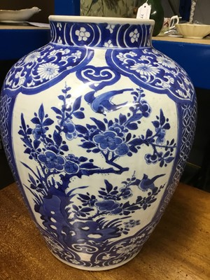 Lot 130 - Large Chinese blue and white vase and cover