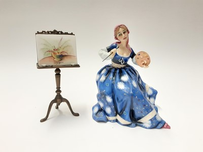 Lot 133 - Royal Doulton limited edition Gentle Arts figure - Painting HN3012 on plinth base, modelled by Pauline Parsons, number 429 of 750, boxed with certificate