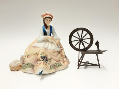 Lot 135 - Royal Doulton limited edition Gentle Arts figure - Spinning HN2390 on plinth base, modelled by Peggy Davies, number 429 of 750, boxed with certificate