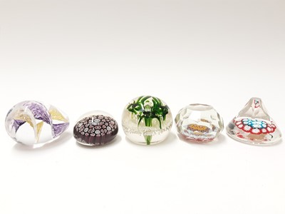 Lot 176 - Five various Murano Art Glass Paperweights (5)