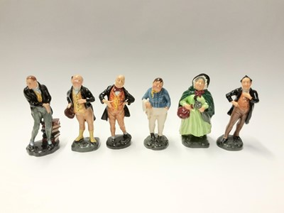 Lot 146 - Six Royal Doulton figures - Fat Boy HN2096, Uriah Heep HN2101, Pecksniff HN2098, Micawber HN2097, Pickwick HN2099 and Sairy Gamp HN2100