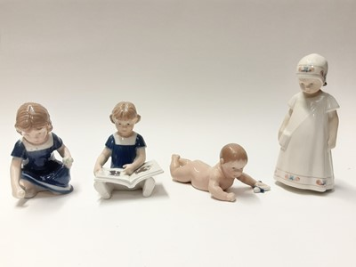 Lot 151 - Four Royal Copenhagen porcelain figures including girl with book, model numbers 672, 674, 112 and 404