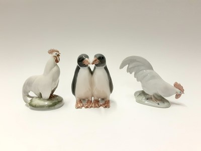Lot 152 - Three Royal Copenhagen porcelain ducks, model numbers 064, 364 and 363, plus penguins number 160 and two Cockerells number 1127 and 1126