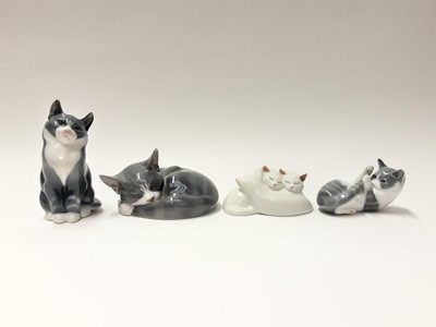 Lot 153 - Four Royal Copenhagen cats, model numbers 304, 1803, 222 and 422