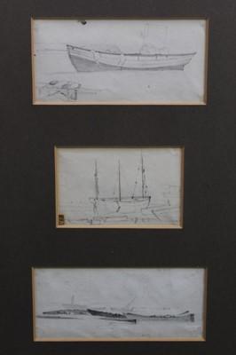 Lot 131 - James Stark, three pencil sketches, boats
