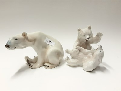 Lot 156 - Eight Royal Copenhagen porcelain polar bears, model numbers 1107, 232, 072, 233, 245 (the largest looks like number 409)