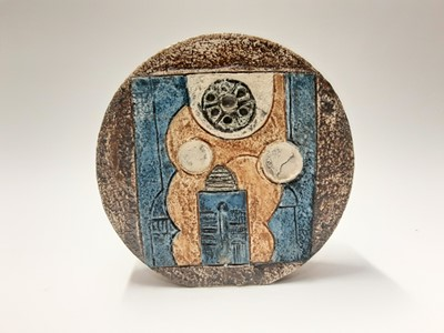 Lot 161 - Troika wheel vase with abstract decoration on brown and blue ground, 19.5cm high, 20cm wide