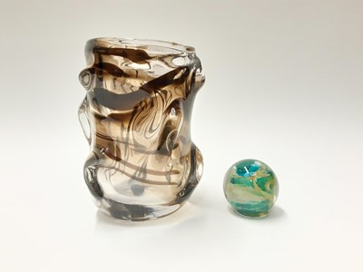 Lot 164 - Whitefriars streaky knobbly vase, 18.5cm high and a Michael Harris Isle of Wight paperweight (2)