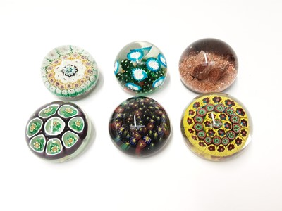 Lot 180 - Six various Murano Art Glass Paperweights some with original stickers