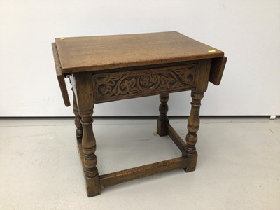 Lot 2 - Good quality 17ty century style carved oak drop leaf side table 51cm wide