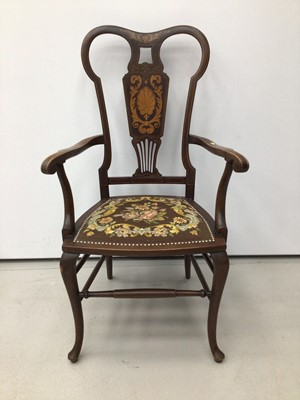 Lot 6 - Edwardian marquetry inlaid elbow chair, together with a Regency mahogany dining chair and pair of Victorian beech and caned side chairs. (4)