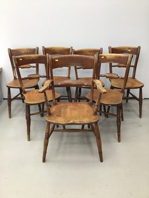 Lot 7 - Set of seven 19th century East Anglian beach and elm country chairs, to include one carver