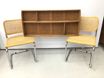 Lot 12 - Ercol golden dawn wall hanging shelves, together with a pair of Italian chrome and caned S-form chairs