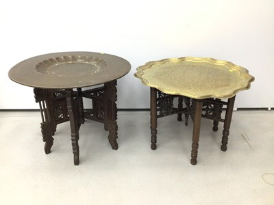 Lot 16 - Two Islamic brass top occasional tables