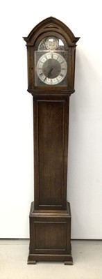 Lot 18 - Oak cased Grandmother clock