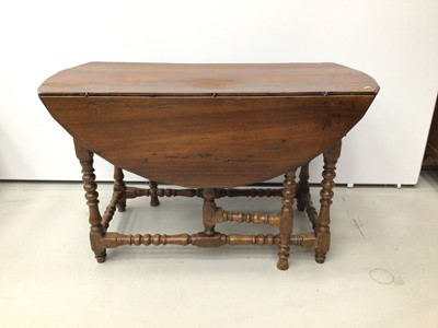 Lot 25 - Late 17th / early 18th century and later cherry wood gateleg table