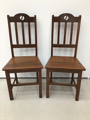 Lot 28 - Pair of Macintosh style walnut arts and crafts hall chairs