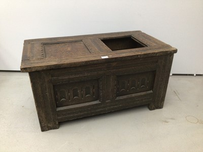 Lot 44 - Small 17th century oak coffer, with dual panel hinged lid and arcade carved front on stiles, the interior with lidded candle box, 94cm wide x 55cm deep x 43cm high