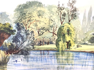 Lot 123 - Attributed to Ernest Shepard watercolour - view of The Lake Regents Park