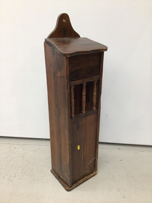 Lot 64 - Antique pine wall hanging cupboard or salt box, accessed from the hinged lid, 88cm high, together with two hanging corner cupboards and one other hanging cupboard. (4)