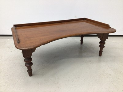 Lot 65 - Victorian mahogany reading table, of kidney form with rising rest adjusting on easel support, 69cm wide, together with magazine stand, 17th century style joint stool, another stool, towel rail
