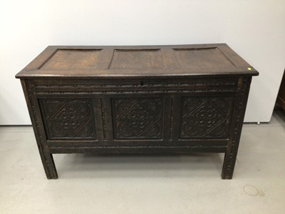 Lot 66 - Good 17th century oak coffer, with triple panel top and lozenge carved triple panel front raised on stiles 120cm wide x 53cm deep x 70cm high