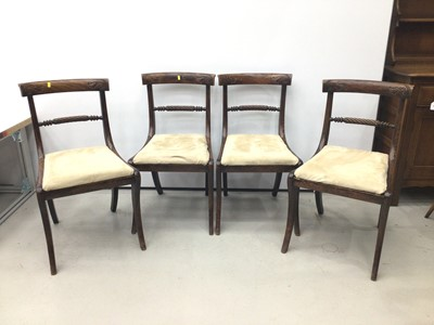 Lot 71 - Set of four rosewood grained beech dining chairs, each with rope twist back and slip in seat on sabre legs