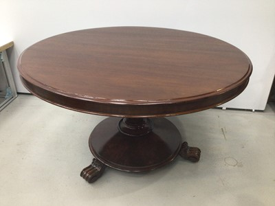 Lot 72 - Victorian mahogany circular breakfast table, the tilt top on facetted tapered column and circular base on scroll feet, 124cm diameter