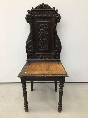 Lot 84 - Victorian carved oak hall chair