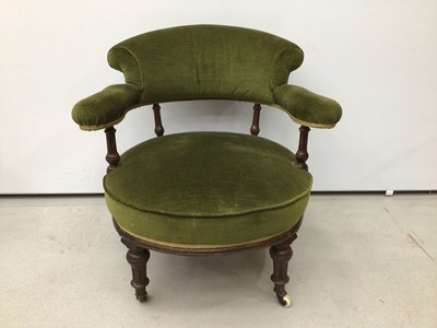 Lot 86 - Victorian mahogany tub chair, green upholstery on fluted legs and castors