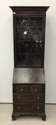 Lot 100 - Mahogany bureau bookcase, 18th century with alterations