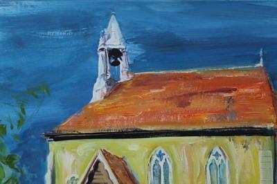 Lot 90 - Hugh Webster (b. 1963) oil on canvas, Beaumont church