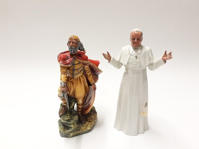 Lot 158 - Two Royal Doulton figures - Alfred The Great HN3821 and His Holiness Pope John Paul II HN2888
