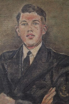 Lot 138 - H. Smith, 1930s oil on board - portrait of a naval recruit, signed, framed, 29cm x 25cm